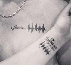 Tatuajes para el nacimiento de un hijo: Mejores ideas [FOTOS] - Tatuaje con los latidos del corazón de un hijo