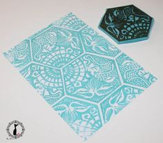 Handcarved hexagonal patterned stamp via Cinderella at Midnight