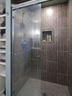 Rectangular Travertine Tile for Flooring Design: Modern Bathroom With Shower Rectangular Travertine Tile With Brown Color ~ jsdpn.com Floori...