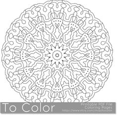 Printable Coloring Pages for Adults, Detailed Mandala Pattern, PDF / JPG, Instant Download, Coloring Book, Coloring Sheet, Grown Ups by ToColor on Etsy