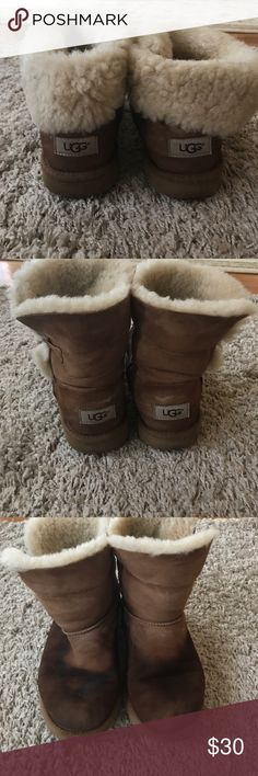 Bailey button uggs Authentic. Literally wore it twice , then got caught in rain, and never bothered to take it to the cleaners. if washed or cleaned, can be like new! UGG Shoes