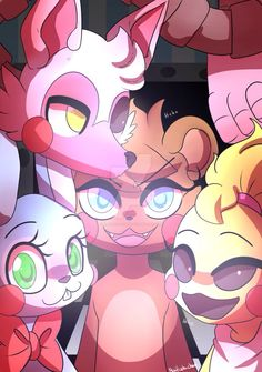 fnaf 2 Mangle, Toy Chica, Toy Freddy and Toy Bonnie