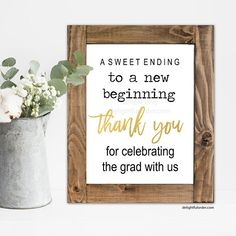 Printable Graduation Sign, Sweet Ending Sign, Candy Bar, Thank You Sign, Party Decor, Graduation Party Printable (1) JPEG File, You Print