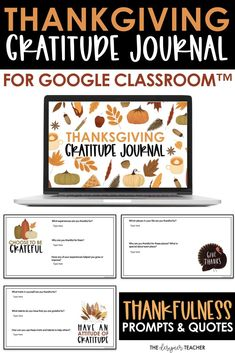 Encourage students to cultivate an attitude of gratitude with this beautiful thankfulness journal. Perfect for the days before Thanksgiving break, each Google Slide™ includes a gratitude quote and 2-3 questions to encourage students to reflect and express gratitude. Great for distance learning!