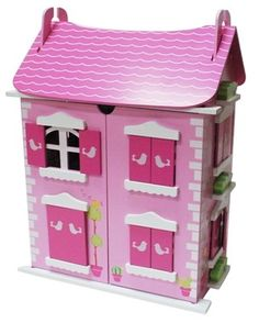 Wooden Pink   Doll House comes with 16  pieces of furniture