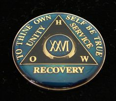 26 Year Alcoholics Anonymous Anniversary Blue Tri Plate Medallion Coin Chip | eBay