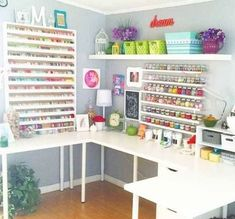 Craft Room Design, Craft Room Decor, Craft Room Storage, Home Decor, Arts And Crafts Storage, Ikea Decor, Craft Desk, Craft Room Tables, Sewing Room Organization