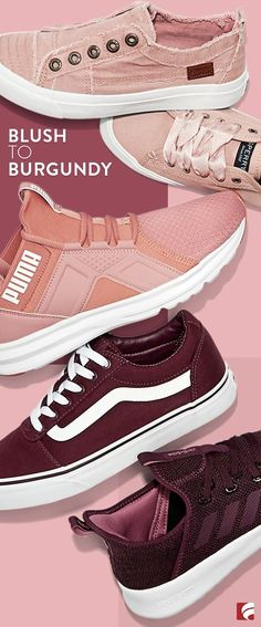 163dc45f693 Stand out in a big way with a blush to burgundy gradient. Burgundy Sneakers
