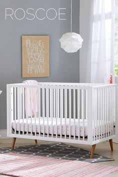 """This white, gender-neutral crib is a simple and modern addition for an Outer Space nursery. Throw on some """"moony"""" sheets and get ready for blast off! Grey Nursery Boy, Gold Nursery, White Nursery, Nursery Neutral, Bear Nursery, Nursery Themes, Nursery Decor, Themed Nursery, Nursery Ideas"""
