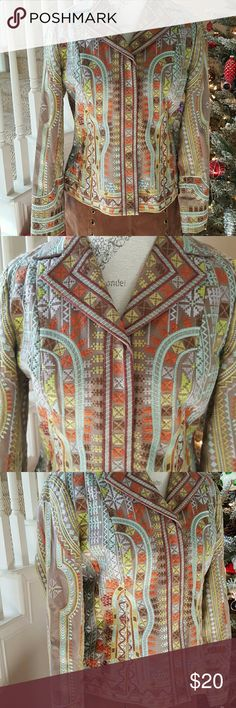 Embroidered Jacket by Coldwater Creek Live with passion!  100% cotton in a southwest color scheme of turqoise and sienna.  Snap front closure.   Beautiful jacket! Coldwater Creek Jackets & Coats Blazers