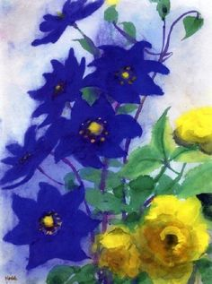 Emil Nolde (German, 1867–1956) - Blue and Yellow Flowers