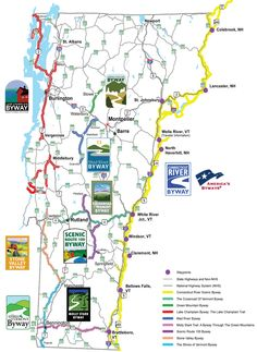 Vermont Byway Maps for scenic drives but having grown up there I know every road in Vt is scenic and special.
