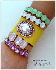 handmade leather bracele with crystal