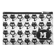 Cute Monogram Black Cat Expressions Pattern Travel Accessory Bag - black and white gifts unique special b&w style