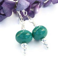 Christmas Green Lampwork Earrings Sterling Icicle Holiday Jewelry OOAK | ShadowDogDesigns - Jewelry on ArtFire