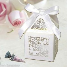 12 scatoline bianche farfalle bomboniera matrimonio segnaposto 5 x 9 cm carta