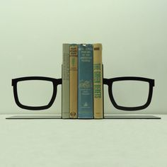 Split Glasses Metal Art Bookends Free USA by KnobCreekMetalArts