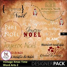 Pack of 10 beautiful Word Arts in French, made for Xmas. They are png files, variable size, 300 Dpi.
