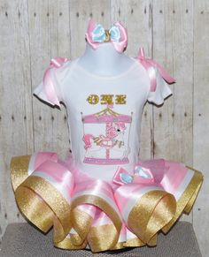 Carousel ribbon trim tutu Carousel birthday outfit by MommaMays