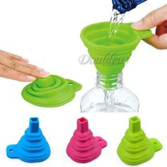 Silicone Small Collapsible Foldable Silicon Kitchen Funnel Hopper Gel Practical #Unbranded