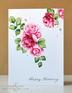 handmade wedding card featuring Vintage Roses Stamp Set by  Altenew ... three stamp stamping ... masking ...  looks like beautiful fabric print ... one layer card ...
