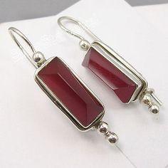 Silver RED FIRE CARNELIAN PYRAMID Gem HANDWORK Earrings 3.9 CM NEW
