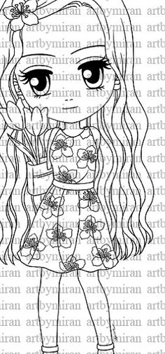 Digital Stamp-Flora Digi Stamp Coloring page by artbymiran on Etsy