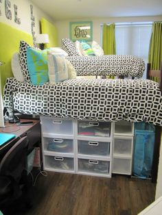 dorm room storage-- I like this because it's slightly lofted so you have a lot of under the be storage, but it's not so crazy high I feel like I will die