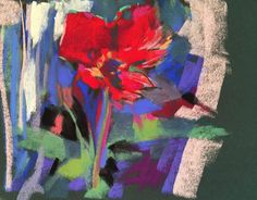 """First Tulip. 2017. Pastel. 7.75"""" x 9."""" Casey Klahn. Started en plein air, and finished in the studio."""