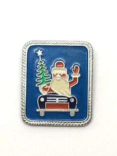 New Year badge Сhristmas tree Soviet pin Happy New Year Christmas pin Vintage pin Santa Claus Metal collectible badge Made in USSR 1980s