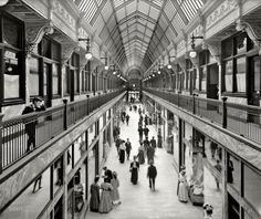 "Cleveland circa 1908. ""Colonial Arcade."" Seen earlier here and here. 8x10 inch dry plate glass negative, Detroit Publishing Company."