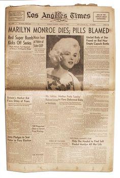 Headlines- Death of Marilyn Monroe. http://www.thefuneralsource.org/publicfunerals.html