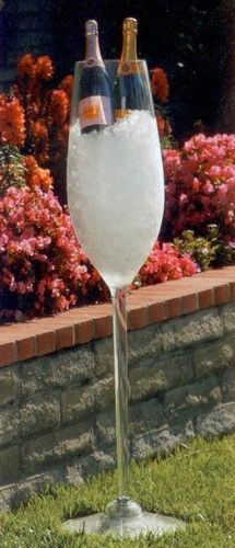 This giant champagne glass cooler will get your party started right. This acrylic wine glass stands 47 inches!