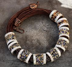 Necklace of bead-embellished polymer clay beads, by Tanya Mayorova on Flickr