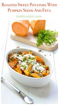 Roasted Sweet Potatoes with Feta Cheese