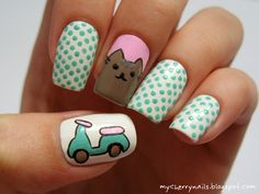 Pusheen the Cat, cat, dots, polka dots, motorbike, mint, pink, white, nails, nail art, manicure