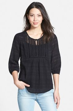 Pleione+Embroidered+Bib+Cotton+Gauze+Peasant+Blouse+available+at+#Nordstrom
