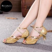 Gold Sequins   Color Beauty  Leakage Toe Adult Mid Heel Latin Modern Dance Shoes Women's Ballroom Dancing Soft Comfortable