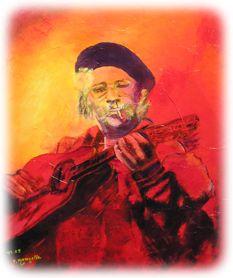 Portrait de Juan de Marcos du Buena Vista Social club. Acrylique sur toile marouflée.
