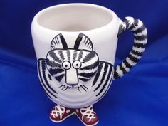 Striped Cat with Sneakers Footed Figural Mug Coffee Tea Cup Tail is the Handle | Collectibles, Decorative Collectibles, Mugs, Cups | eBay!