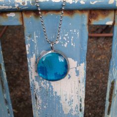 BLUE Glass Gem Pendant Necklace EMMY 2013 Gift by newagaindesign, $34.99