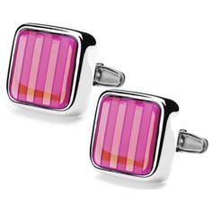 Denisonboston Cufflinks-Pink Dandy Stripe Cufflinks by denisonboston-£40.00