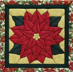 Easy Christmas Quilt Block Pattern | poinsettia quilt magic kit 12 x12 item 464483 quilt magic inc quilt ...