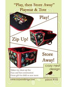 PDF Sewing Pattern:  Convertible Play Mat & Storage Tote
