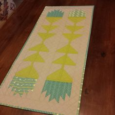 """Thistle Block Table Runner finish.  I used the pattern from Elizabeth Hartman's Fancy Forest #thistleblocks #fancyforest #tablerunner"""