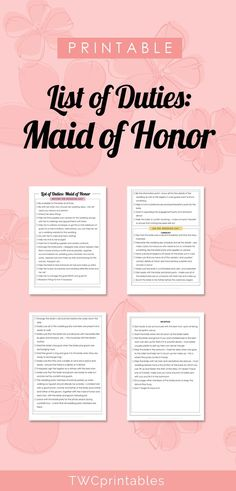 Printable List Of Duties For The Maid Honor Checklist Give