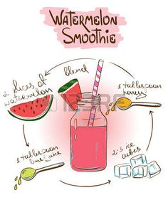 New fruit cartoon illustrations galleries Ideas Watermelon Smoothie Recipes, Yummy Smoothies, Recipe Drawing, Healthy Drinks, Healthy Recipes, Sketch Note, Food Doodles, Fruit Cartoon, Food Journal