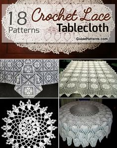 New 18 Easy Crochet Lace Tablecloth Patterns Crochet Tablecloth Pattern Crochet Pillow Patterns Free, Crochet Tablecloth Pattern, Crochet Lace Edging, Granny Square Crochet Pattern, Lace Patterns, Filet Crochet, Simple Crochet, Crochet Doilies, Crochet Books