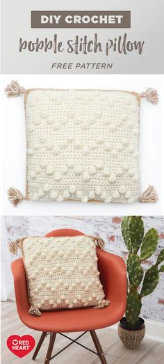 Yarnspirations is the spot to find countless free easy crochet patterns, including the Red Heart Bobble Stitch Pillow. Bobble Crochet, Bobble Stitch, Basic Crochet Stitches, Easy Crochet Patterns, Crochet Ideas, Crochet Cushion Cover, Crochet Pillow Pattern, Crochet Cushions, Pillow Patterns