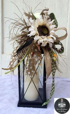 Fall lantern swag with pumpkins and ivory sunflower fall arrangement fall centerpiece Fall lantern swag with pumpkins and ivory by MrsChristmasWorkshop Fall Lanterns, Halloween Lanterns, Christmas Lanterns, Lanterns Decor, Fall Lantern Centerpieces, Ideas Lanterns, Fall Crafts, Christmas Crafts, Thanksgiving Decorations